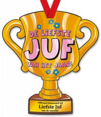 Liefste Juf Reuzemedaille Trofee 35x32cm Wensjes