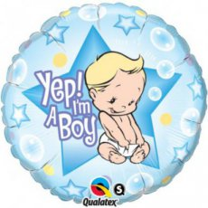 "Baby Folie Ballon 46cm (18"") Yep! I'm a Boy"